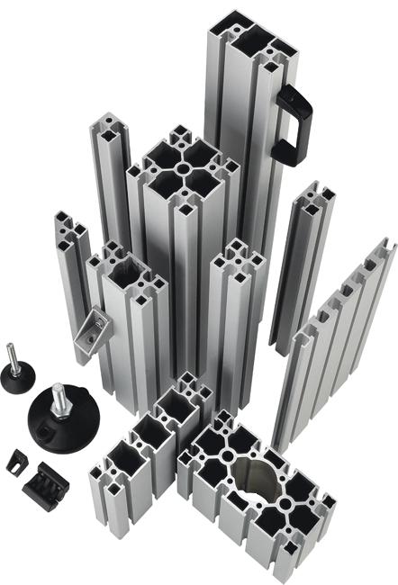 aliuminio profiliai skirti įvairioms konstrukcijoms pramonei, tokioms kaip darbastaliai, įvairūs konvejeriai, ar apsauginės tvorelės