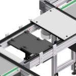 aliuminio profiliai panaudoti padėklų transportavimo sistemos konstrukcijai
